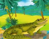 Cartoon scene - wild africa animals - alligator Royalty Free Stock Photos