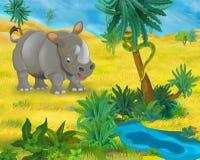 Cartoon scene - wild africa animals - rhino Royalty Free Stock Photo