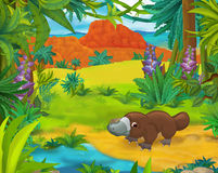 Cartoon scene - wild america animals - caricature - platypus Stock Photography