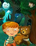 Cartoon scene with wild animals bear owl and boy resting in the forest stock illustration