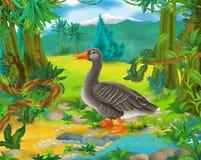 Cartoon scene - wild Asia animals - goose Stock Photos