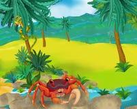 Cartoon scene - wild South America animals - crab Stock Images