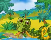 Cartoon scene - wild south america animals - snake Stock Photos