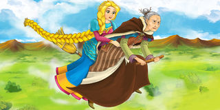 Cartoon scene of a witch flying with a young girl on a broom Stock Photo