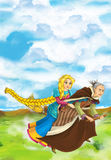Cartoon scene of a witch flying with a young girl on a broom Royalty Free Stock Photos