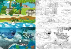 Free Cartoon Scene With Dinosaurs In The Jungle - With Coloring Page Stock Image - 127016951