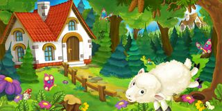 Free Cartoon Scene With Happy And Funny Sheep Running And Jumping Near Farm House In The Forest Royalty Free Stock Images - 112283049