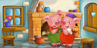 Free Cartoon Scene With Pigs In The Kitchen Royalty Free Stock Photos - 71588908