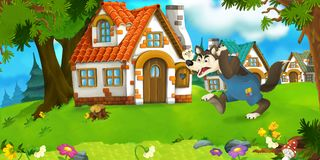 Cartoon scene wolf farmer near traditional village. Happy and funny traditional illustration for children - scene for different usage Royalty Free Stock Image