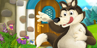 Cartoon scene with wolf near village house. Happy and funny traditional illustration for children - scene for different usage Royalty Free Stock Photos