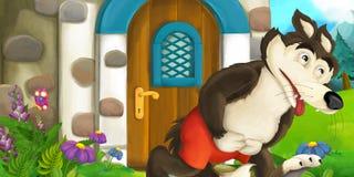 Cartoon scene with wolf near village house Stock Image