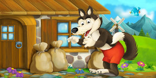 Cartoon scene with wolf near wooden house Stock Image