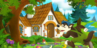 Cartoon scene of wolf running into old house Stock Image