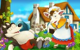 Cartoon scene wolf sleeping and goat is watching Stock Photos