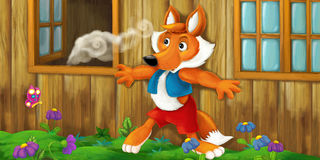 Cartoon scene of a wolf sneaking to the house to steal some food. Happy and funny traditional illustration for children - scene for different usage Royalty Free Stock Photo