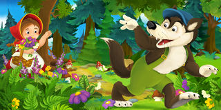 Cartoon scene of wolf waving goodbye to a girl in the forest royalty free illustration