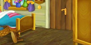 Cartoon scene of wooden room Stock Photography
