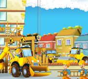 Cartoon scene with workers on construction site - builders doing different things Royalty Free Stock Photography