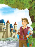 Cartoon scene with a young brave man - traveler - stage for different fairy tales - beautiful castle - happy scene Royalty Free Stock Photo
