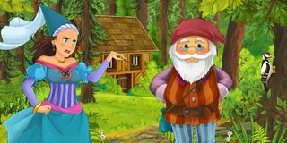 Cartoon scene with young dwarf prince traveling and encountering princess sorceress and hidden wooden house in the forest. Illustration for children stock illustration
