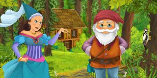 Cartoon scene with young dwarf prince traveling and encountering princess sorceress and hidden wooden house in the forest. Illustration for children vector illustration