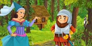 Cartoon scene with young dwarf prince traveling and encountering princess sorceress and hidden wooden house in the forest. Illustration for children royalty free illustration