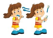 Cartoon scene with young girl brushing her teeth Stock Image