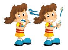 Cartoon scene with young girl brushing her teeth Stock Photos