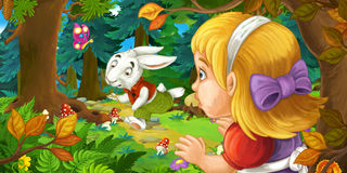 Cartoon scene with young girl in the forest near the tree sneaking and looking at running rabbit Stock Photography