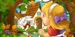 Cartoon scene with young girl in the forest near the tree sneaking to cute house. Happy and funny traditional illustration for children - scene for different Royalty Free Stock Photography