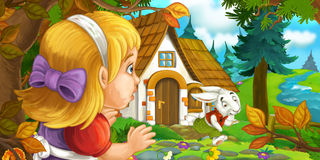 Cartoon scene with young girl in the forest near the tree sneaking to cute house. Happy and funny traditional illustration for children - scene for different Stock Image