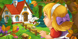 Cartoon scene with young girl in the forest near the tree sneaking to cute house seeing running rabbit Royalty Free Stock Images