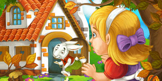 Cartoon scene with young girl in the forest near the tree sneaking to cute house seeing running rabbit Stock Photos
