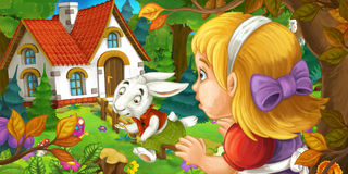 Cartoon scene with young girl in the forest near the tree sneaking to cute house seeing running rabbit. Happy and funny traditional illustration for children Stock Photo