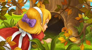 Cartoon scene with young girl in the forest sneaking to the hole in the tree. Happy and funny traditional illustration for children - scene for different usage Royalty Free Stock Photography