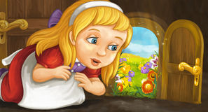Cartoon scene with young girl looking at garden through small door Royalty Free Stock Photos