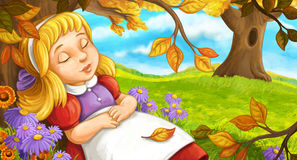 Cartoon scene with young girl sleeping in the forest under the tree Royalty Free Stock Photo