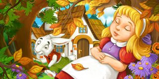 Cartoon scene with young girl sleeping in the forest under the tree near cute farm house running funny looking rabbit Stock Photo