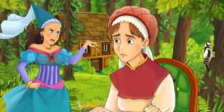 Cartoon scene with young girl traveling and encountering princess sorceress and hidden wooden house in the forest. Cartoon scene with young woman traveling and stock illustration