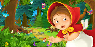 Cartoon scene with young girl walking through the forest Royalty Free Stock Images