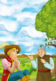 Cartoon scene with young man sitting in some garden and a villager or farmer - handsome man. Happy and colorful traditional illustration for children - scene for Royalty Free Stock Photo