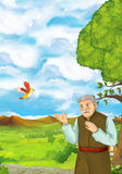 Cartoon scene with young man walking in some garden - older man - some villager. Happy and colorful traditional illustration for children - scene for different Royalty Free Stock Photo