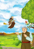 Cartoon scene with young man walking in some garden - older man - some villager - witch is flying over him. Happy and colorful traditional illustration for Royalty Free Stock Photo