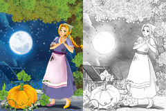 Cartoon scene with a young poor girl - big pumpkin and golden shoe - stage for different fairy tales - beautiful manga girl Royalty Free Stock Photography
