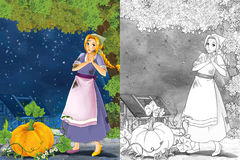 Cartoon scene with a young poor girl - big pumpkin and golden shoe - stage for different fairy tales - beautiful manga girl Royalty Free Stock Images