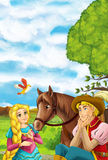 Cartoon scene with young prince and princess and a horse in the garden - handsome man and beautiful manga girl Stock Photography