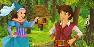 Cartoon scene with young prince traveling and encountering princess sorceress and hidden wooden house in the forest. Illustration for children stock illustration