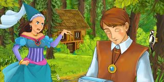 Cartoon scene with young prince traveling and encountering princess sorceress and hidden wooden house in the forest. Illustration for children royalty free illustration