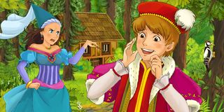 Cartoon scene with young prince traveling and encountering princess sorceress and hidden wooden house in the forest. Illustration for children vector illustration
