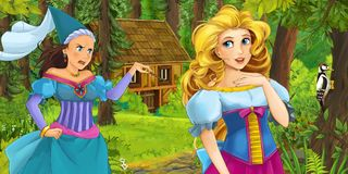 Cartoon scene with young princess traveling and encountering princess sorceress and hidden wooden house in the forest. Illustration for children stock illustration